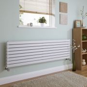 Milano Capri - White Flat Panel Horizontal Designer Radiator - 472mm x 1600mm (Double Panel)