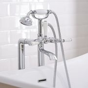 Milano - Freestanding Traditional Lever Bath Shower Mixer Tap with Hand Shower - Chrome and White