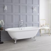 Milano Legend - 1750mm x 800mm Double Ended Roll Top Freestanding Bath with Choice of Feet