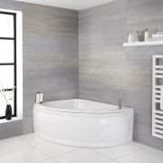 Milano Newby - White Modern Left Hand Corner Bath with Panel - 1500mm x 1020mm