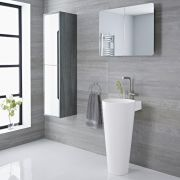 Milano Ballam - White Modern Basin with Full Pedestal - 398mm x 498mm (1 Tap-Hole)