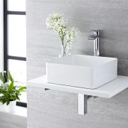 Milano Rivington - White Modern Square Countertop Basin with High Rise Mixer Tap - 360mm x 360mm