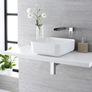Milano Longton - White Modern Square Countertop Basin with Wall Mounted Mixer Tap - 400mm x 400mm
