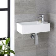 Milano Elswick - White Modern Rectangular Wall Hung Basin - 450mm x 250mm (1 Tap-Hole)