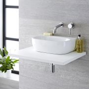 Milano Mellor - White Modern Oval Countertop Basin - 420mm x 280mm (No Tap-Holes)
