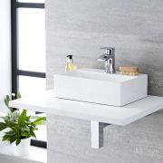 Milano Elswick - White Modern Rectangular Countertop Basin with Deck Mounted Mixer Tap - 360mm x 250mm