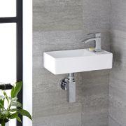 Milano Dalton - White Modern Square Wall Hung Basin - 410mm x 220mm (1 Tap-Hole)