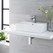 Milano Dalton - White Modern Rectangular Countertop Basin - 550mm x 315mm (1 Tap-Hole)