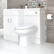 Milano Ren - White Modern Left-Hand Vanity and WC Combination Unit with Pan and Cistern