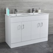 Milano Ren - White 1200mm Floor Standing Vanity Unit with Double Basin