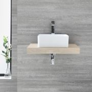 Milano Lurus - 600mm Floating Shelf and Rivington Countertop Basin - Oak