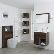 Milano Bexley - Dark Oak Modern 600mm Vanity Unit, WC unit, Pan, Three Storage Units and Mirror