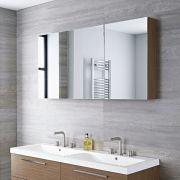 Milano Linley - Oak Modern 3 Door Mirrored Cabinet - 1350mm x 700mm