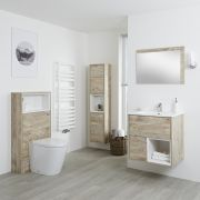 Milano Bexley - Light Oak Modern 600mm Open Shelf Vanity Unit, WC Unit, Pan, Storage Unit and Mirror