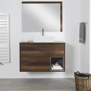 Milano Bexley - Dark Oak 1000mm Wall Hung Open Shelf Vanity Unit with Rectangular Countertop Basin