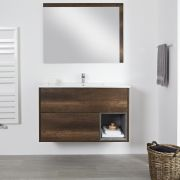 Milano Bexley - Dark Oak 1000mm Wall Hung Open Shelf Vanity Unit with Basin