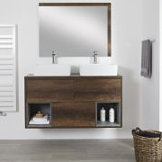 Milano Bexley - Dark Oak 1200mm Wall Hung Open Shelf Vanity Unit with Rectangular Countertop Basins