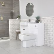 Milano Atticus - White Modern 1170mm Vanity and WC Combination Unit with Pan and Cistern