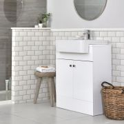 Milano Atticus - White Modern 670mm Vanity Unit and Basin