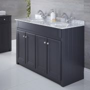 Milano Edgworth - Anthracite and White Traditional 1200mm Vanity Unit with Double Basin