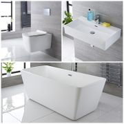 Milano Elswick - Complete Modern Bathroom Suite with Freestanding Bath