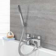 Milano Razor - Modern Deck Mounted Bath Shower Mixer Tap with Hand Shower - Chrome