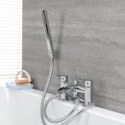 Milano Razor - Modern Deck Mounted Waterfall Bath Shower Mixer Tap with Hand Shower - Chrome