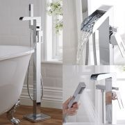 Milano Parade - Modern Waterfall Freestanding Bath Shower Mixer Tap with Hand Shower - Chrome