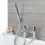 Milano Mirage - Modern Deck Mounted Bath Shower Mixer Tap with Hand Shower - Chrome