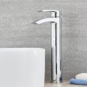 Milano Razor - Modern Deck Mounted High Rise Mono Basin Mixer Tap - Chrome