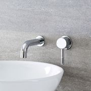 Milano Mirage - Modern Wall Mounted Round Basin Mixer Tap - Chrome