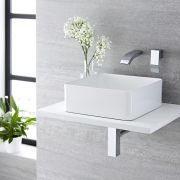 Milano Rivington - White Modern Square Countertop Basin with Wall Mounted Mixer Tap - 360mm x 360mm