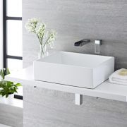 Milano Westby - White Modern Rectangular Countertop Basin with Wall Mounted Mixer Tap - 490mm x 390mm