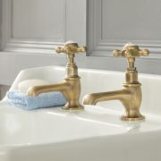Milano Elizabeth - Traditional Crosshead Basin Pillar Taps - Brushed Gold