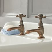 Milano Elizabeth - Traditional Crosshead Basin Pillar Taps - Oil Rubbed Bronze