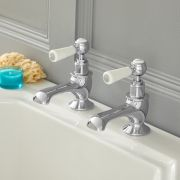 Milano Elizabeth - Traditional Lever Bath Pillar Taps - Chrome and White