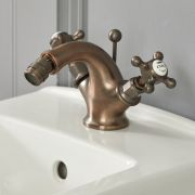 Milano Elizabeth - Traditional Deck Crosshead Mono Bidet Mixer Tap - Oil Rubbed Bronze