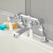 Milano Elizabeth - Traditional Lever Bath Filler Tap - Chrome and White