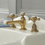 Milano Elizabeth - 3 Tap-Hole Crosshead Basin Mixer Tap - Brushed Gold