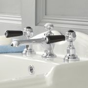 Milano Elizabeth - 3 Tap-Hole Lever Basin Mixer Tap - Chrome and Black