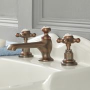 Milano Elizabeth - 3 Tap-Hole Crosshead Basin Mixer Tap - Oil Rubbed Bronze