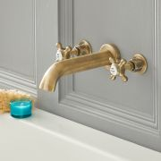 Milano Elizabeth - Traditional Wall Mounted 3 Tap-Hole Crosshead Bath Filler Tap - Brushed Gold