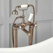 Milano Elizabeth - Traditional Freestanding Crosshead Bath Shower Mixer Tap with Hand Shower - Oil Rubbed Bronze