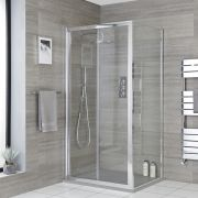 Milano Portland - Corner Bi-Fold Shower Door Enclosure with Slate Tray - Choice of Sizes