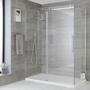 Milano Portland - Corner Frameless Sliding Door Shower Enclosure with Slate Tray - Choice of Sizes