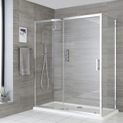 Milano Portland - Corner Sliding Door Shower Enclosure with Tray - Choice of Sizes