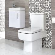 Milano Farington - Close Coupled Toilet and 400mm Wall Hung Vanity Unit Set - Choice of Finish