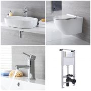 Milano Overton - Complete Modern Cloakroom Suite with Mono Basin Tap