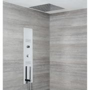 Milano Vis - Concealed Digital Shower Tower Panel with 400mm Square Recessed Ceiling Head, 2 Body Jets and Hand Shower