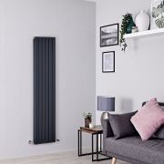 Milano Capri - Anthracite Flat Panel Vertical Designer Radiator - 1600mm x 354mm (Double Panel)